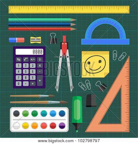 Flat Design Vector Illustration School Tools.