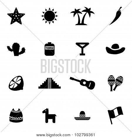 Vector Black Mexico Icon Set