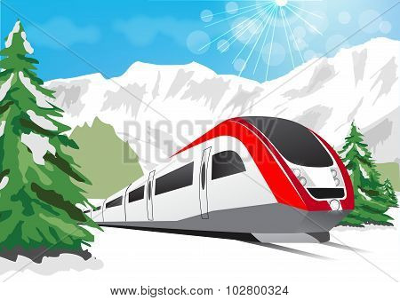 High Speed Train Driving On Background Of Snowy Mountains