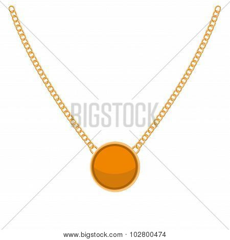 Golden Chain with Gold Blank Precious Necklaces. Vector