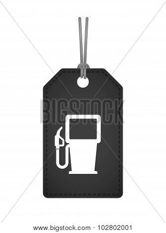 Isolated Label Icon With A Gas Station