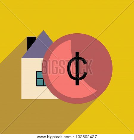 Flat with shadow icon house and coins