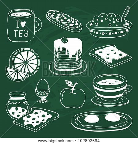 Breakfast Icon Set With Various Products Drawn On Chalkboard