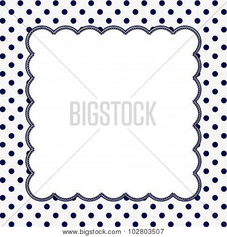 Navy Blue And White Polka Dot Frame Background