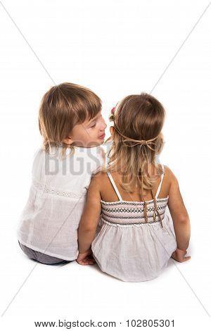 Girls Play, Talk In Your Ear, Talk, Children's Secrets, White Background