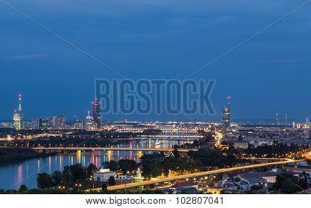 Buildings And Bridges Near The Danube River, River