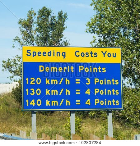 Demerit Points Warning Sign in Ontario