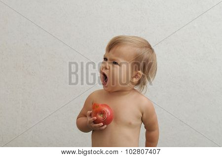 Baby Holding Tomato And Screaming