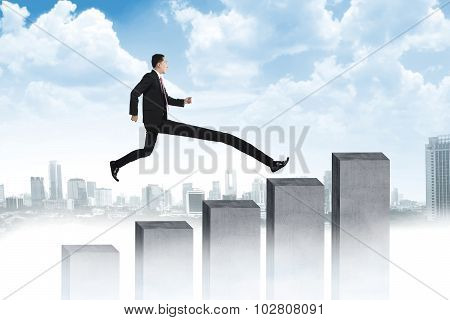 Long Leg Business Man Jumping