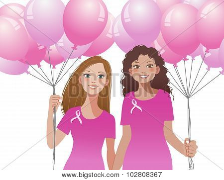 Pink Ribbon Concept - Woman Holding Pink Balloons