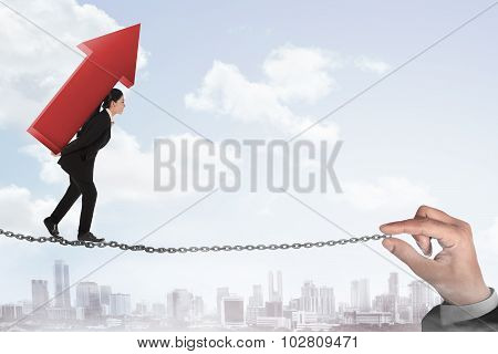 Business Person Walking On The Chain