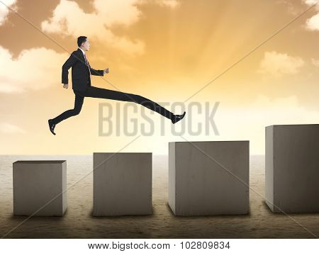 Business Man Have Long Leg So He Can Jump To The Top Graph