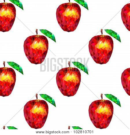 Seamless Pattern Apples Triangles