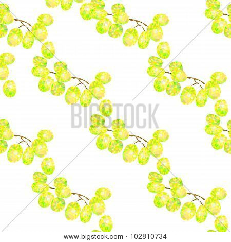 seamless pattern with white grapes triangles, abstract fruit background