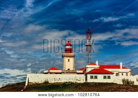 Old lighthouse at the Cabo da Roca in Portugal.