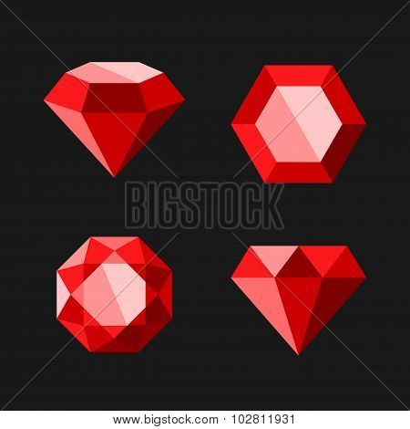 Red Diamond or Ruby Vector Icons Set
