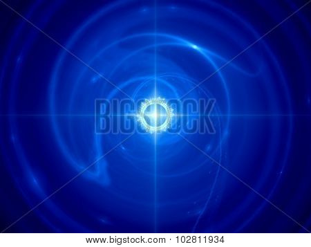 Blue Glowing Time Machine In Space