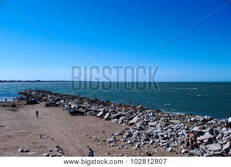 Breakwater in a beach
