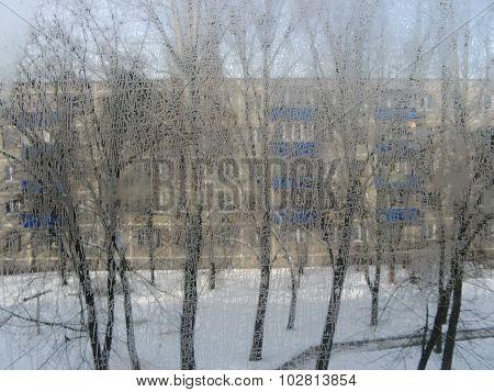 Snowfall opposite windows of residential house