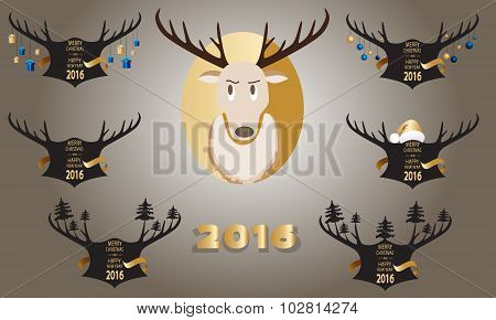 Christmas Banner With Horns And A Deer On A Black Background.