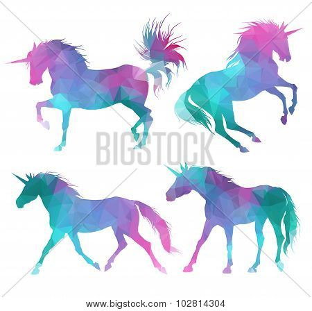 Silhouette of unicorns. Colorful triangular style.
