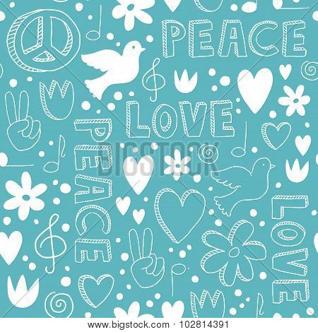 Hand-drawn Seamless Pattern With Symbols Of Peace