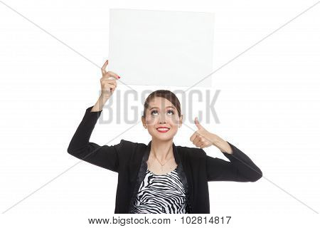 Young Asian Business Woman Show Thumbs Up With  White Blank Sign