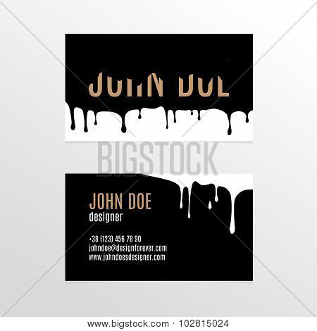 Business Card Design With Dripping Black Paint