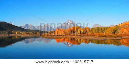 Panoramic view of scenic Grand Tetons in autumn time