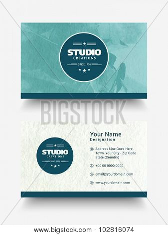 Creative horizontal business card, visiting card or name card set with front and back side presentation.