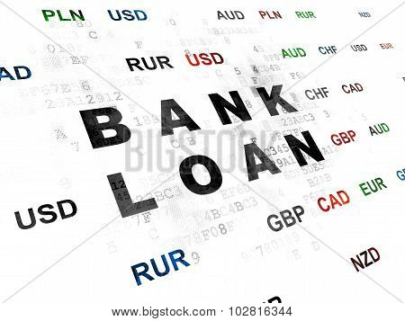 Currency concept: Bank Loan on Digital background