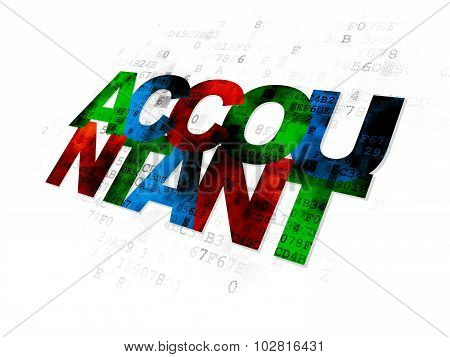 Currency concept: Accountant on Digital background