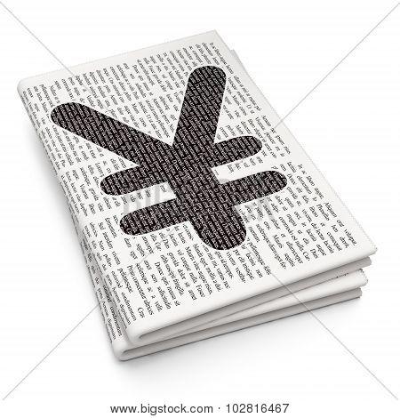 Money concept: Yen on Newspaper background