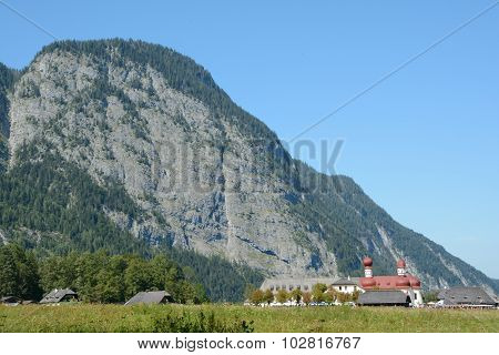 St. Bartholoma Church And Mountain