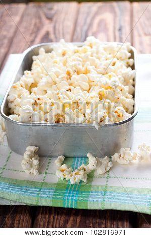 Aluminum Square Bowl Full Of Salt Popcorn