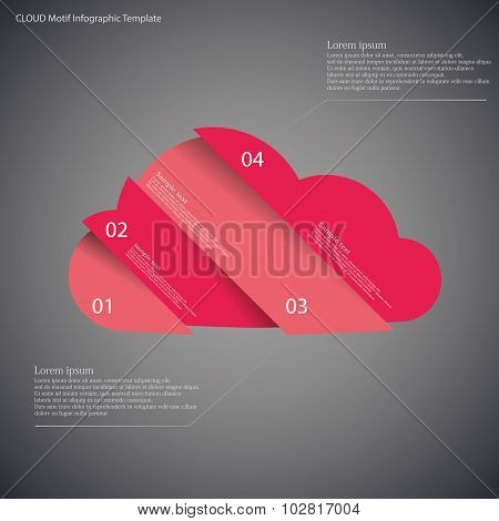 Infographic Template With Cloud Divided To Four Parts On Dark