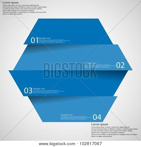Infographic Template With Hexagon Divided To Four Parts On Light