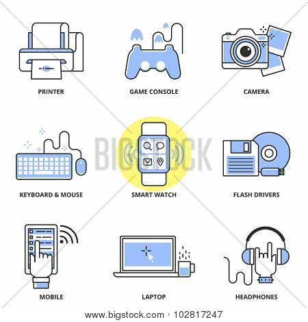 Modern Devices Vector Icons Set