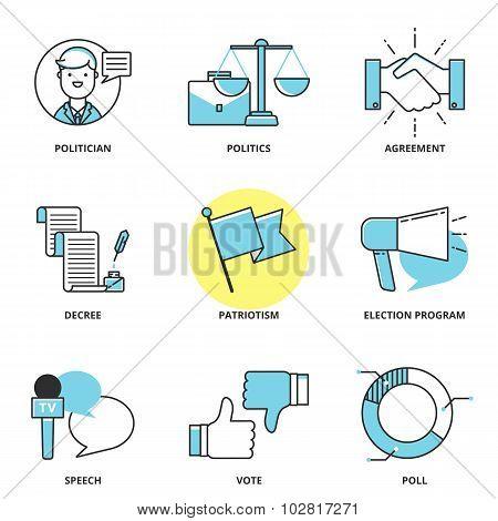 Politics Vector Icons Set