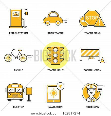 Road Traffic Vector Icons Set