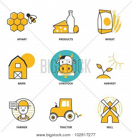 Rural Industry Vector Icons Set