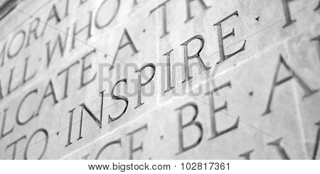 Word Carved in Stone Granite Inspire