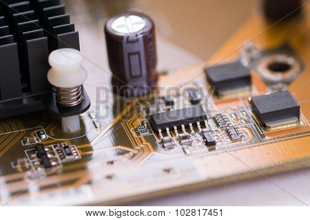 Closeup Brown Electronic Board With Small Depth Of Field 2
