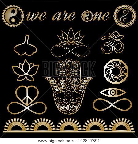 Yoga Tattoo Set Gold And Black Yoga logo, yoga icons, mystic spiritual symbols, gold lines tatto set