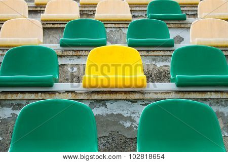 Green, Beige And Yellow Seats In Old Opened Stadium 2