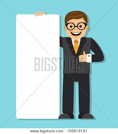 businessman with a big blank paper sign