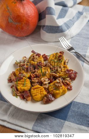Home made pumpkin gnocchi with bacon