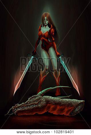 Warrior with dragon. Raster illustration
