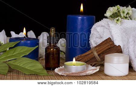 Bottle With Spa Essence,spa Candles,flowers And Cream