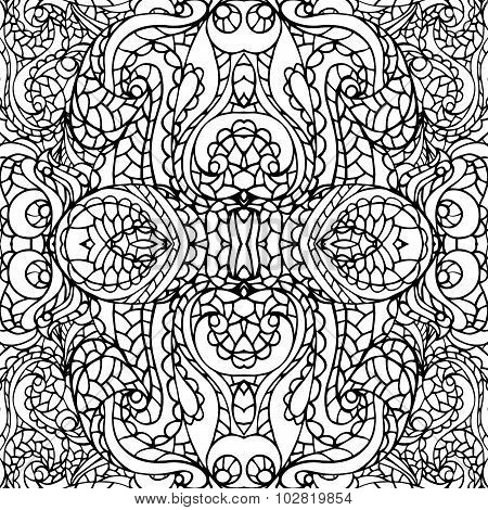 Abstract symmetry swirl ethnic seamless pattern.Outline